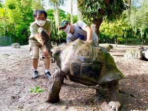 Mauro Galetti with Galapagos tortoise